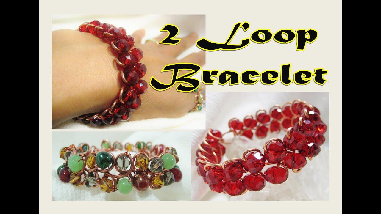 Jewelry Tutorial | EASY 2 LOOP  Wire Wrap Bracelet -  Liz Kreate