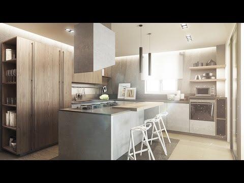 Legno e cemento in cucina - YouTube