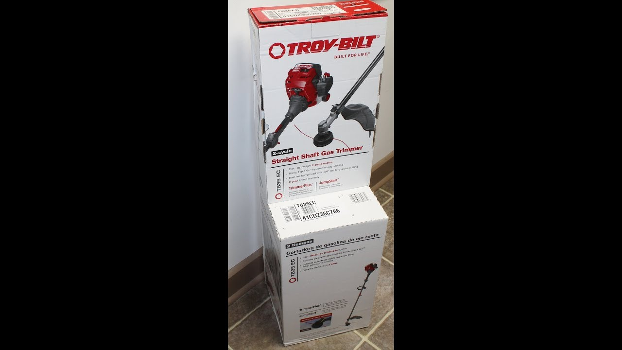 Troy-Bilt TB35 EC Straight Shaft Gas Trimmer Box Opening & Review