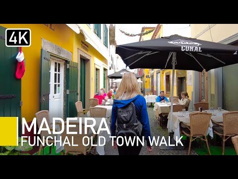 [4K] Madeira Portugal 2021 - Funchal Old Town to farmer's market natural sights and sounds walk