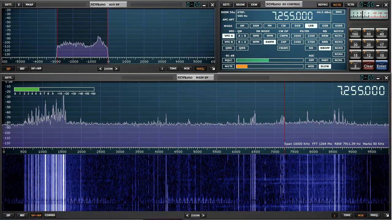 SDRplay running SDRuno with a 10 MHz span of spectrum - W1AEX