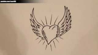How to draw a heart with angel wings