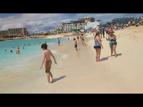 Maho Beach on Dutch side of the Caribbean island Saint Martin, territory of Sint Maarten