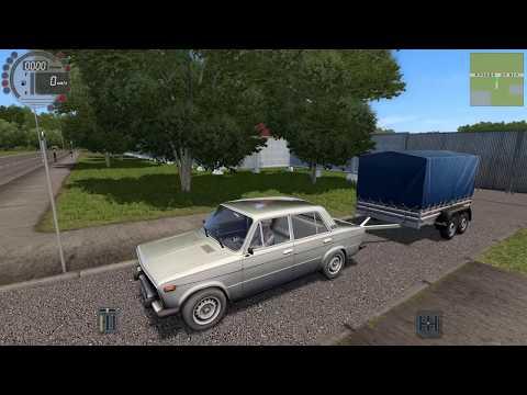 Везу бабушке в поселок посылку от внука на вазе 2106 с прицепом - перевозка грузов в City Car Drivin