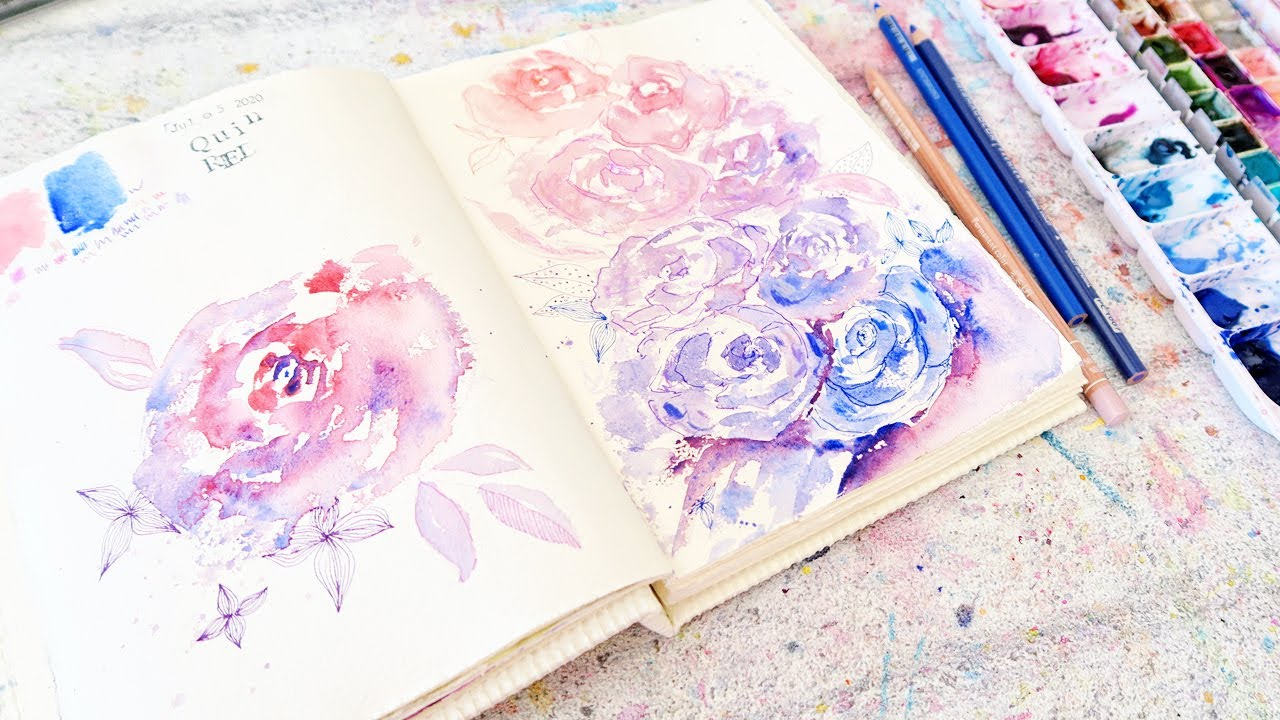 World Watercolor Month! Loose Floral- Quin Red