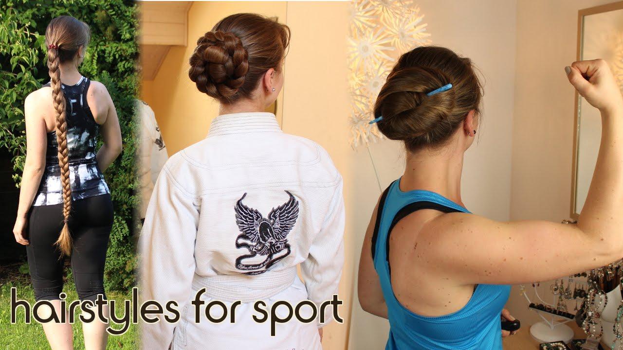Sportfrisuren für lange Haare - laufen, Kampfsport, Krafttraining inkl.  flechten mit drei Strängen