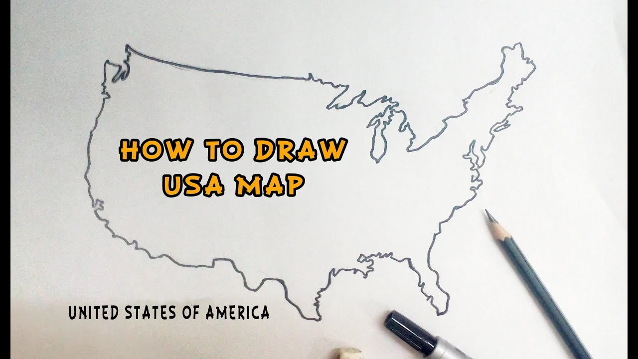 united states map drawing How to Draw a Map of the United States of America   YouTube
