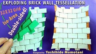 Origami Exploding Brick Wall Tessellation (32X32 Grid)