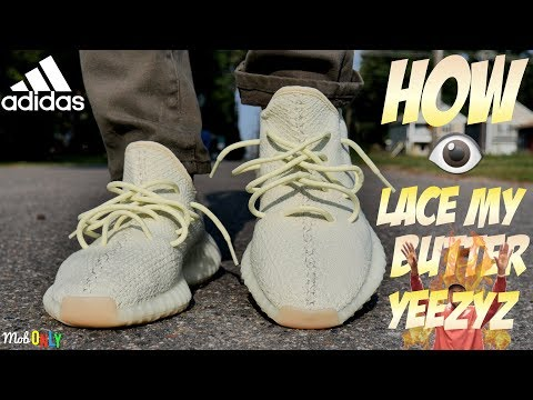 How I lace My butter Yeezy 350 Boost On Foot 4k Ultra HD Revieww
