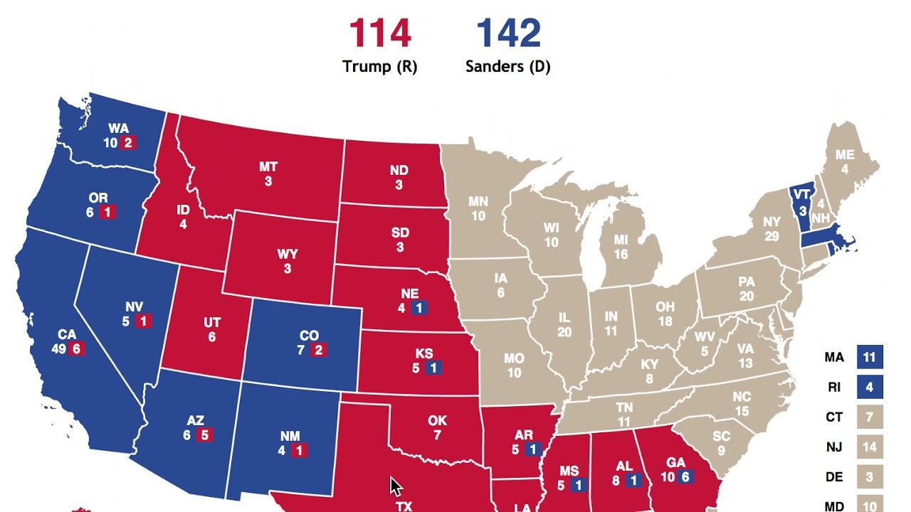 election   proportional electoral map bernie sanders  donald trump youtube