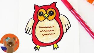 Урок рисования для детей   Рисуем милую СОВУ в японском стиле Кавай
