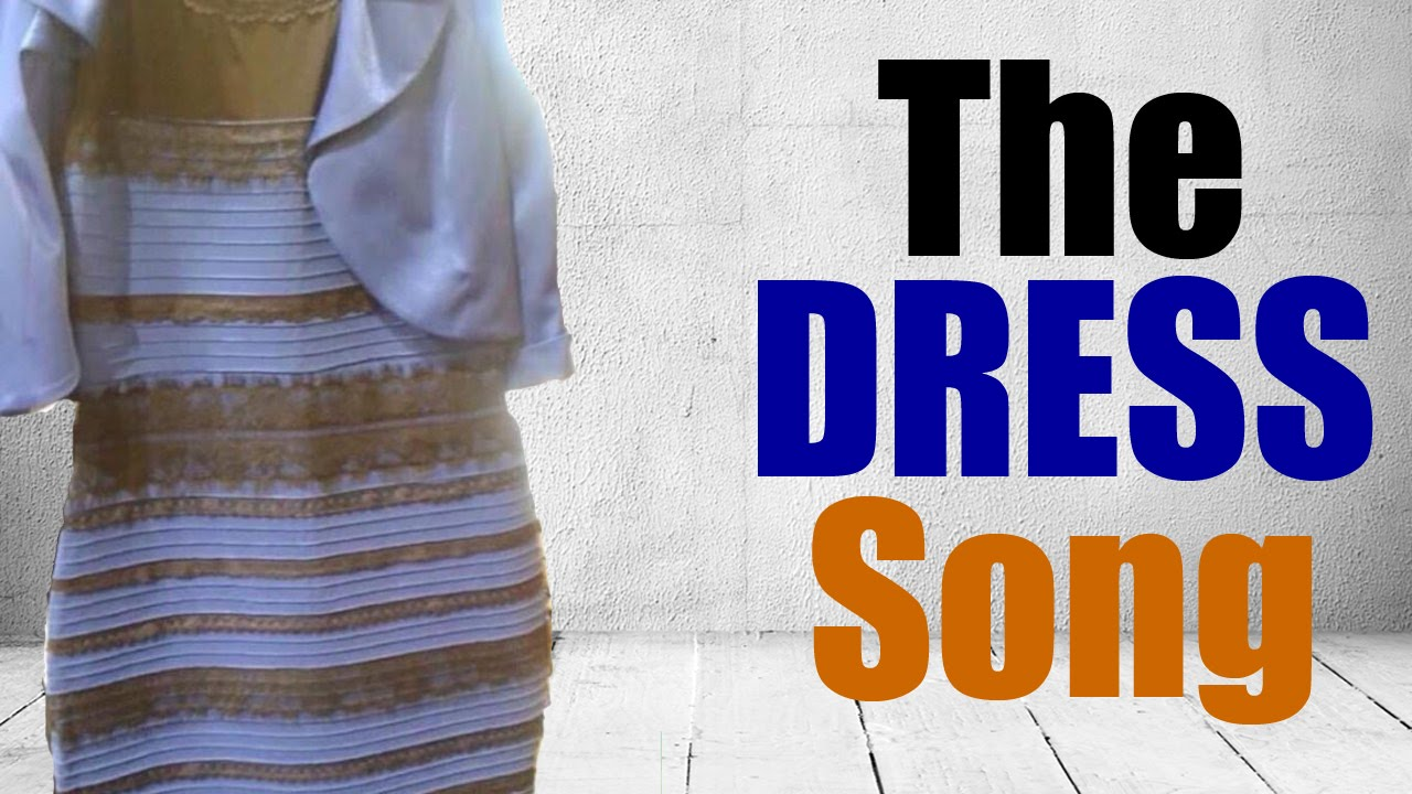 White and gold dress blue and black exclamation point