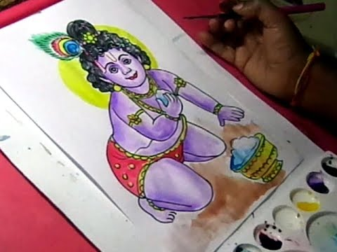 How To Draw Cute Chinni Krishna Drawing With Colors Youtube