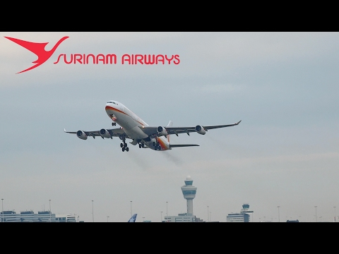 Loud and Late!! Surinam Airways A340 PZ-TCR late takeoff from Schiphol