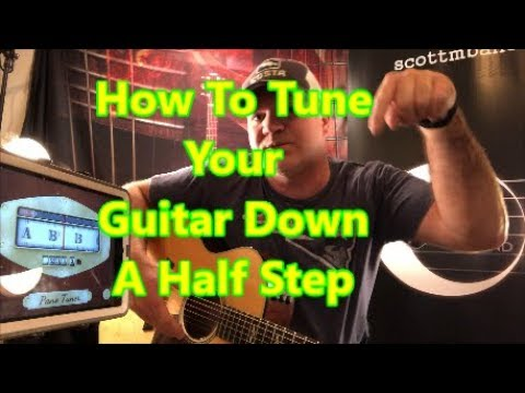 How To Tune Your Guitar Down A Half Step Using A Chromatic Tuner - Easy Method {2019)