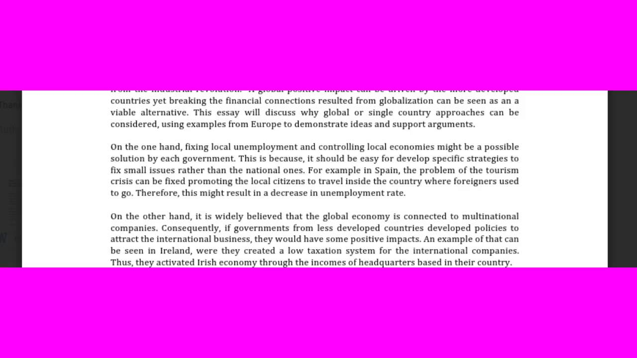 globalisation essay ielts essay corection
