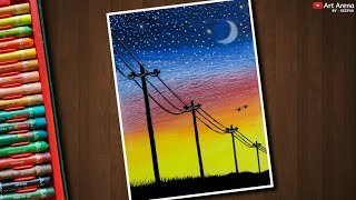 Electric Wire Line Sunset Landscape Drawing with Oil Pastels - step by step
