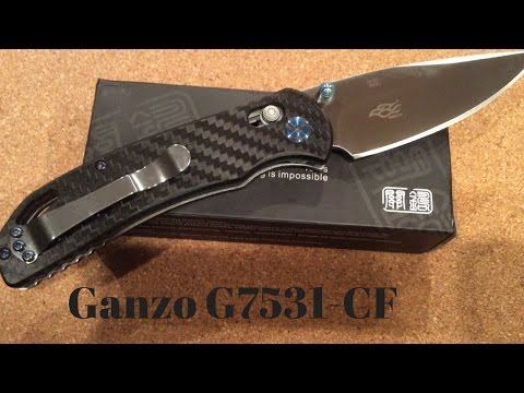 Ganzo G7531-CF knife Carbon Fiber scales and blue hardware AWESOME !!