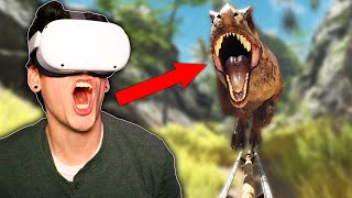 SCARY T-REX ROLLER COASTER CHASE! (Epic Roller Coasters)