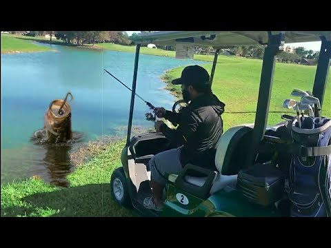 Golfer Catches BIG FISH!!!