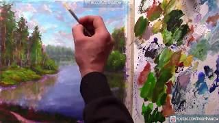 Как нарисовать картину Голубая река среди зеленых лесов | 761 | УРОКИ РИСОВАНИЯ
