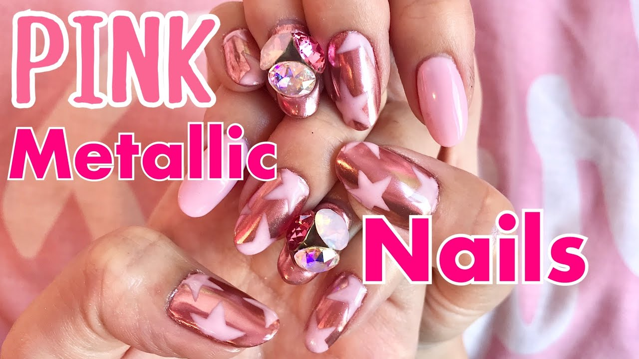 CHROME NAILS TUTORIAL! with PINK STARS! HOW TO DO METALLIC GEL NAILS AT HOME