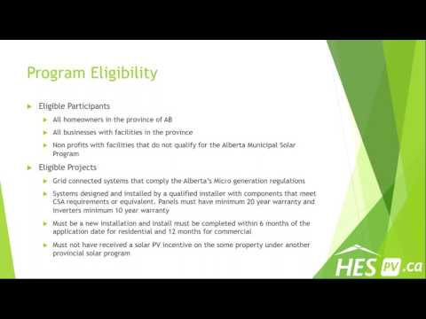 Alberta Solar Program  Presented by HES PV's Lee Sinal