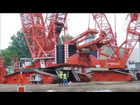 Mega Transport 2 mal 750 Tonnen Kran Schwertranport Vorbereitung