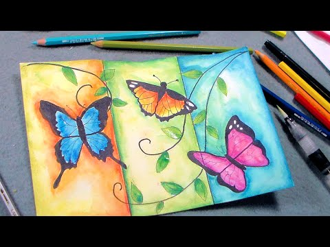 Butterfly Painting Tutorial With Pen Ink And Caran DAche Watercolor Pencil Review