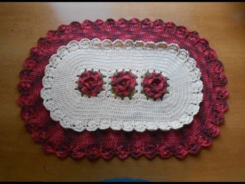 tapetes de crochê com flores duas cores simples