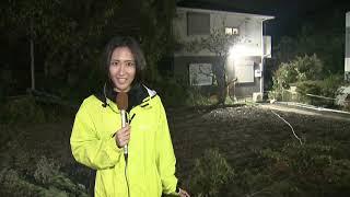 """台風被害 小池都知事が被災地視察""""命の道路""""早期復旧へ"""