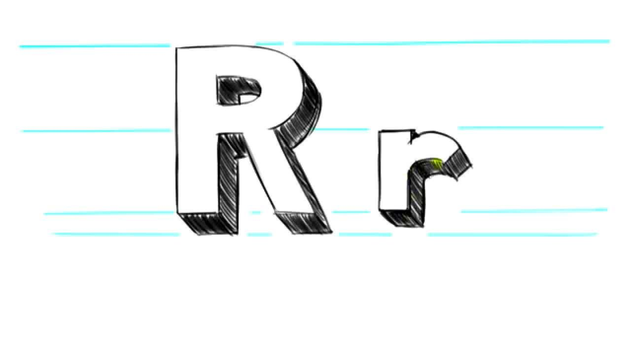 how to draw 3d letters r uppercase r and lowercase r in 90 seconds youtube