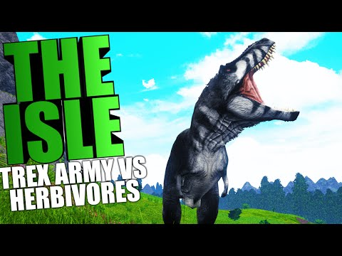 The Isle - TREX ARMY VS HERBIVORE HERD FIGHT, PUERTASAURUS VS TREX (The Isle Funny Moments Gameplay)