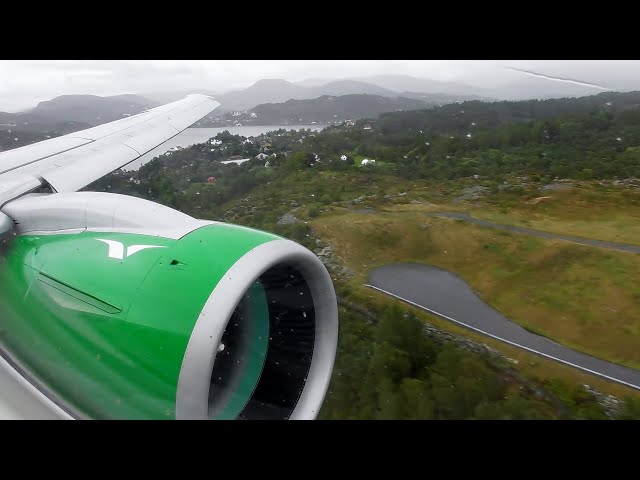 Widerøe Embraer E190-E2 SUPERB VISUAL APPROACH & Landing into Bergen, Norway!