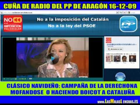 Anuncio de radio del PP mofandose del catalán y fomentando el odio hacia Cataluña