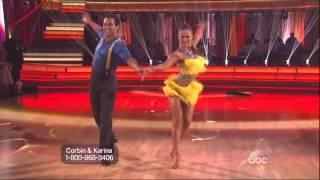 karina smirnoff and corbin bleu dancing cha cha cha on dwts 10 28 13