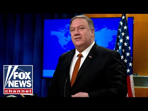 Pompeo speaks to press at State Department