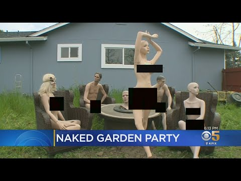 Katie Sommers - Cali Man Forced To Cut Down Fence Sets Up Naked Mannequin Garden Party