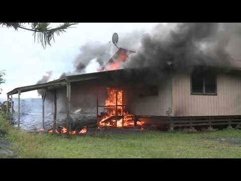 Hawaiian lava flow claims first residence