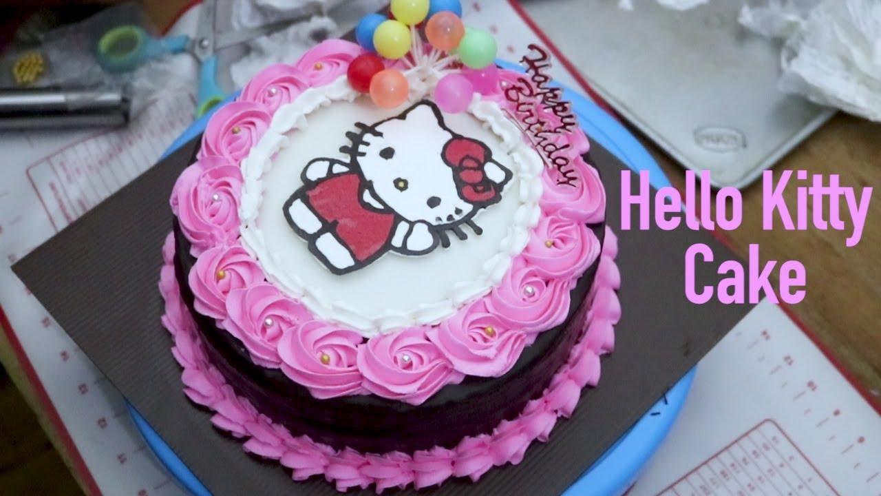 Kue Ultah Hello Kitty Buttercream Kue Ultah Anak Anak Youtube