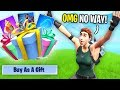 Gifting Skins To Whoever BEATS ME in a 1v1 on Fortnite... (They were SO HAPPY!)