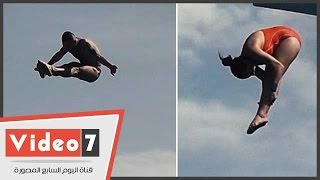 بالفيديو.. شاهد أقوى قفزات الغطس فى افتتاح حمام السباحة الأوليمبى بالنادى الأهلى
