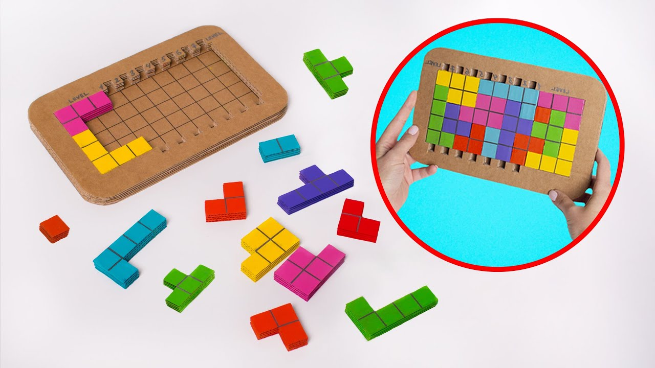 DIY Mainan Tetris Mudah dari Kardus