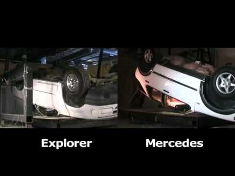 Ford Explorer Vs. Mercedes Benz M-Class Roof Crush Testing (Safe Vs. Unsafe Roof)