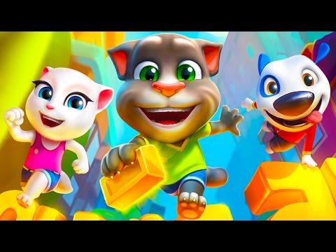 №253: Утренняя ПРОБЕЖКА С Говорящим ТОМОМ, видео игра для детей (Talking Tom Gold Run)