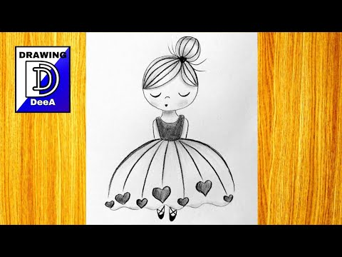 How to draw ballerina/Very easy pencil drawing tutorial/step-by-step