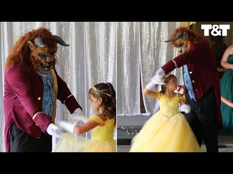 Girl's Godfather Goes Above And Beyond For Father-Daughter Dance By Dressing As Beast From Disney Classic Beauty And The Beast