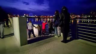 Челябинск. Вечерняя иллюминация прекрасна на набережной города. 25.09.2021г.
