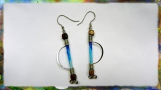 How to Make Silver Wire Earrings, Arc with Rice Paper Cylinder