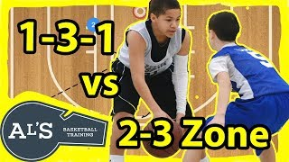 1-3-1 Basketball Offense vs 2-3 Zone Defense